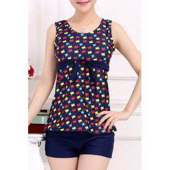 Stylish Women's Scoop Neck Hollow Out Color Printed Two-Piece Swimsuit