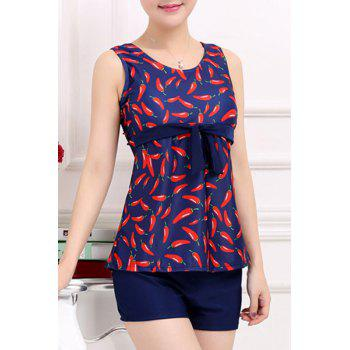 Stylish Scoop Neck Red Pepper Printed Two-Piece Swimsuit For Women