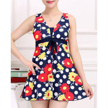 Stylish Women's V-Neck Floral and Polka Print One-Piece Swimsuit