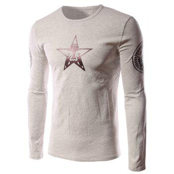 Funny Cartoon Star Pattern Solid Color Slimming Round Neck Long Sleeves Men's Flocky T-Shirt