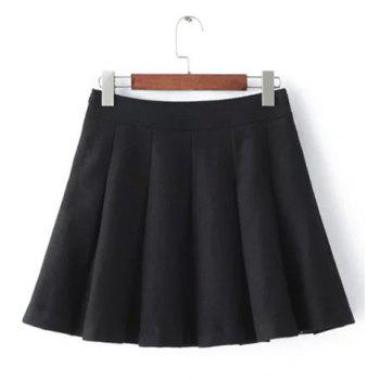 Stylish Women's High-Wiasted Solid Color Worsted Skirt - M M
