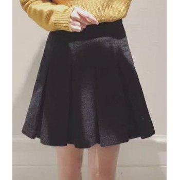 Stylish Women's High-Wiasted Solid Color Worsted Skirt - BLACK M