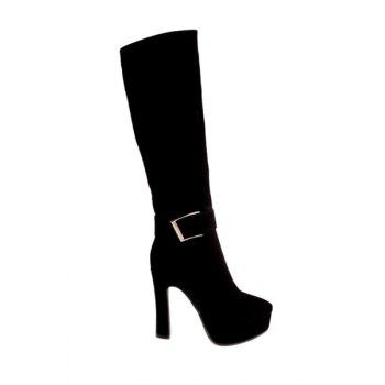 Party Suede and Chunky Heel Design Women's Mid-Calf Boots