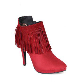 Elegant Fringe and Stiletto Heel Design Women's Ankle Boots