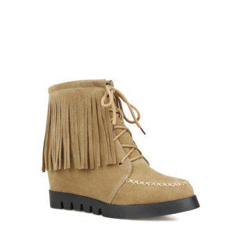 Trendy Fringe and Criss-Cross Design Women's Short Boots