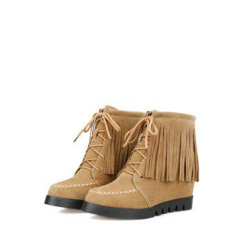 Trendy Fringe and Criss-Cross Design Women's Short Boots - APRICOT APRICOT