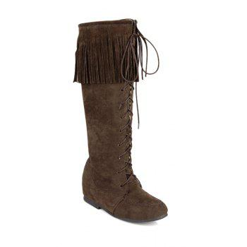 Vintage Fringe and Stitching Design Women's Mid-Calf Boots