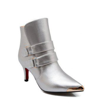 Trendy Metallic Toe and Solid Color Design Women's Short Boots