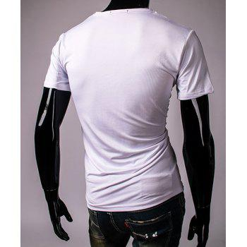 Pullover Round Collar 3D Colorful Printing Short Sleeve T-Shirt For Men - WHITE 2XL