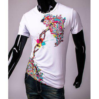 Pullover Round Collar 3D Colorful Printing Short Sleeve T-Shirt For Men - WHITE WHITE