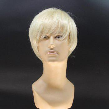 Stylish Short Straight Handsome Light Blonde Men's Heat Resistant Fiber Wig