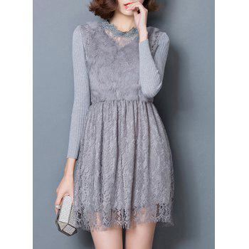 Chic Long Sleeve Ruffled Collar Faux Fur and Solid Color Lace Spliced Women's Dress