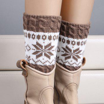 Buy Pair Chic Christmas Snowflake Pattern Women's Knitted Boot Cuffs KHAKI