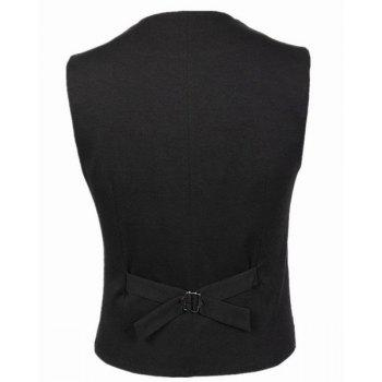 Belt Design Single Breasted V-Neck Sleeveless Solid Color Men's Waistcoat - XL XL