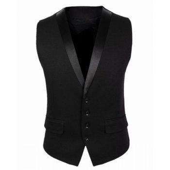 Belt Design Single Breasted V-Neck Sleeveless Solid Color Men's Waistcoat - BLACK XL