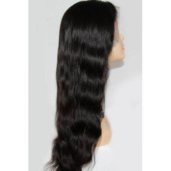 Vogue Black Elegant Long Fluffy Body Wave Full Lace Indian Human Hair Wig For Women - BLACK 12INCH
