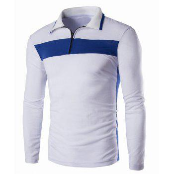 Color Block Splicing Turn-Down Collar Zipper Design Long Sleeve Men's Polo T-Shirt