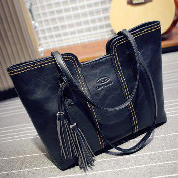 Fashionable Stitching and Tassels Design Shoulder Bag For Women - BLACK