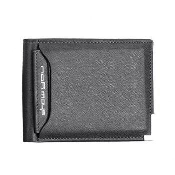 Concise Metal and Solid Color Design Wallet For Men