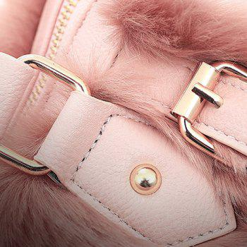 Stylish Buckles and Faux Fur Design Tote Bag For Women - PINK