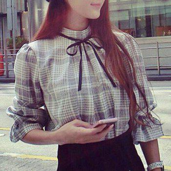 Stylish Stand-Up Collar Long Sleeve Gingham Bowknot Design Women's Blouse