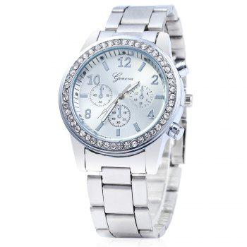 Men Women Rhinestone Quartz Watch Steel Band Decorative Small Sub-dials - SILVER SILVER