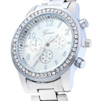 Men Women Rhinestone Quartz Watch Steel Band Decorative Small Sub-dials -  SILVER