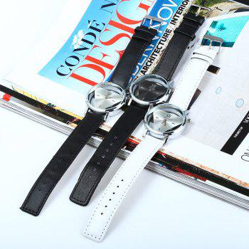Men Women Hollow Quartz Watch Inverted Triangle Dial Leather Band - BLACK