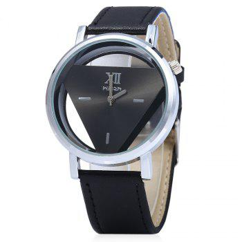 Men Women Hollow Quartz Watch Inverted Triangle Dial Leather Band