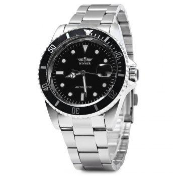 Buy Winner W016 - 1 Automatic Mechanical Movement Men Watch Stainless Steel Band Date Display BLACK