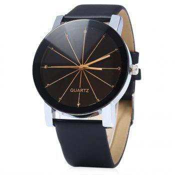 Men Quartz Watch Line Dial Leather Band - BLACK BLACK