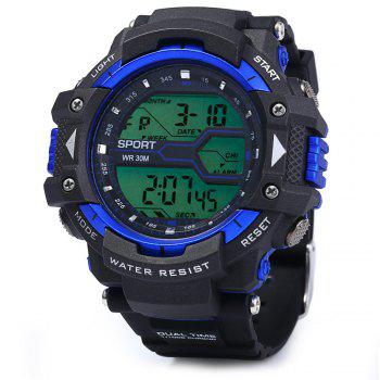 8338G Alarm Day Date Stopwatch Display Men LED Sports Watch - BLUE BLUE