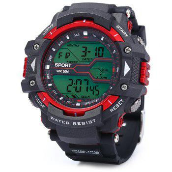 8338G Alarm Day Date Stopwatch Display Men LED Sports Watch - RED RED