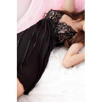 Sexy Bowknot Strappy Babydoll For Women - BLACK BLACK