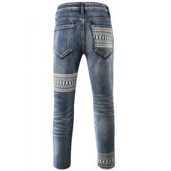 Slim Fit Zip Fly Mid-Rise Waist Skull Ripped Narrow Feet Jeans For Men - BLUE 32