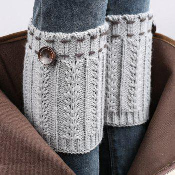 Pair of Chic Strappy and Button Embellished Women's Knitted Boot Cuffs -  LIGHT GRAY