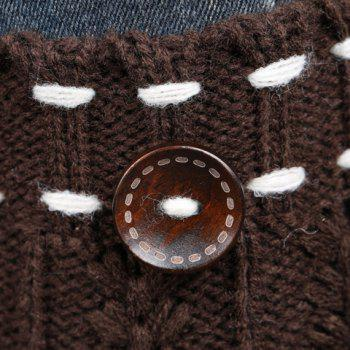 Pair of Chic Strappy and Button Embellished Women's Knitted Boot Cuffs -  LIGHT KHAKI
