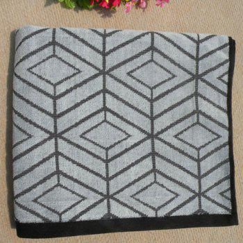 Chic Quality Soft Cotton Rhombus Pattern Strong Water Absorption Bath Towels - GRAY GRAY