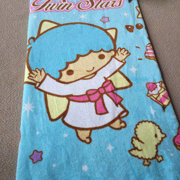 Fashionable Little Twin Stars Cartoon Pattern Cotton Beach Towel - BLUE