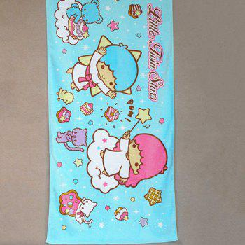Fashionable Little Twin Stars Cartoon Pattern Cotton Beach Towel - BLUE BLUE