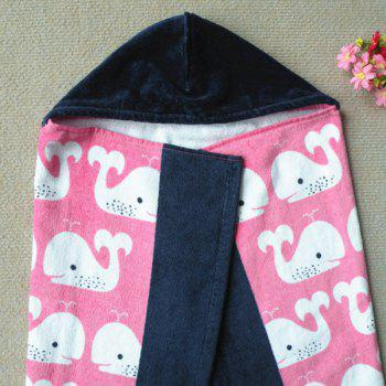 Fashionable Pink Dolphin Pattern Cotton Cloak Kid's Hooded Towel -  PINK