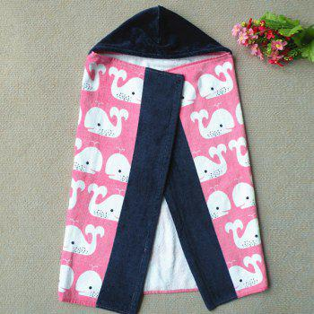 Fashionable Pink Dolphin Pattern Cotton Cloak Kid's Hooded Towel