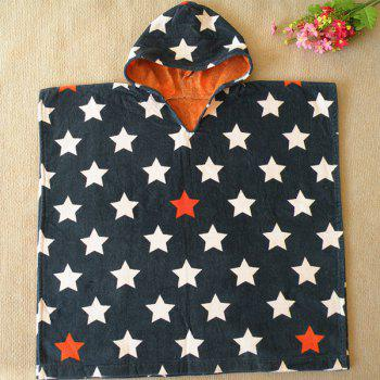 Quality Stars Pattern Cotton Cloak Kid's Hooded Towel - DEEP BLUE DEEP BLUE