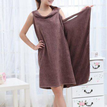 Buy Fashionable Solid Color Microfiber Magic Towel Bath Skirt COFFEE