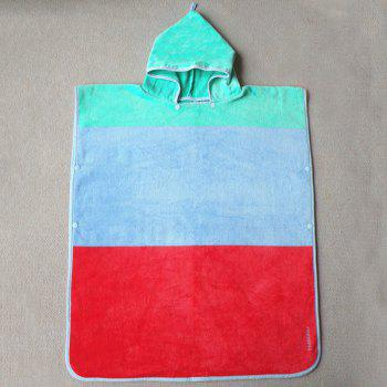 Fashionable Color Block Bus Pattern Soft Cotton Hooded Towels