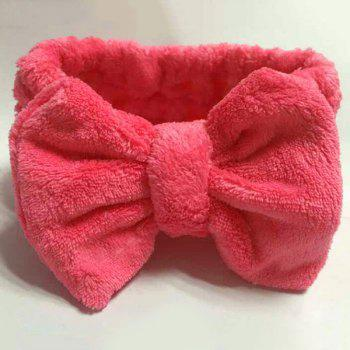 Fashionable Coral Fleece Bowknot Design Soft Bathing Headband - ROSE ROSE