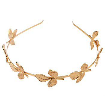 Charming Solid Color Leaf Hairband For Women - GOLDEN GOLDEN