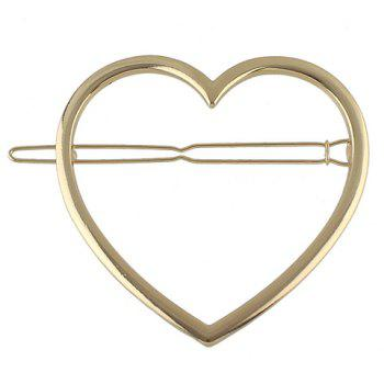 Cute Solid Color Heart Hairgrip For Women - GOLDEN GOLDEN