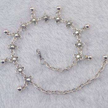 Chic Flower Shape Round Bead Tassel Body Chain For Women - SILVER