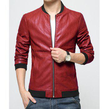 Simple Style Slimming Zipper Baseball Collar PU Leather Jacket For Men